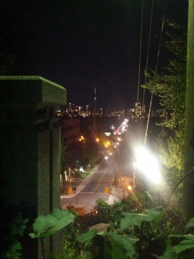 The city, more 'alive' than normal, but looks the same from the top of the Baldwin Steps.