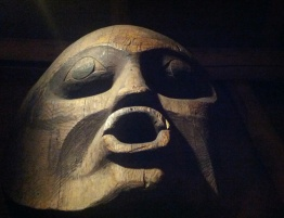 Close up of the top of a sculpture in: First Peoples of the Northwest Coast