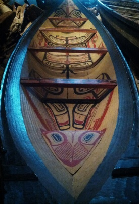 Decorated dugout canoe outside of: From Time Immemorial – Tsimshian Prehistory.